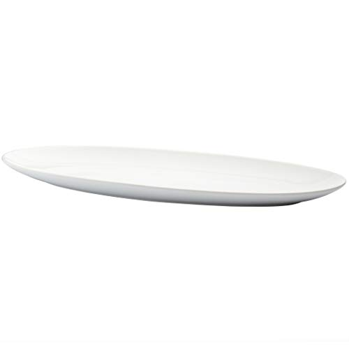"Denmark White Porcelain Chip Resistant Serveware Pitcher Cake Plate Party Platter Serving Bowls Party Deviled Egg Plate, 24"" Narrow Serving Platter"