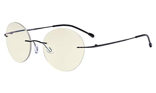 Eyekepper Randlose Gleitsichtbrille Multifokus-Lesebrille Blaulichtfilter Runde Retro-Lesebrille für Damen Herren Schwarz +1.00