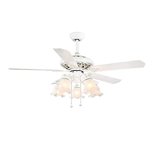 JKYP Ventilador de techo con luz y mando a distancia para ventilador de techo, para dormitorio, restaurante, ventilador de techo, luz redonda (tamaño: 108 cm de diámetro x 52 cm)