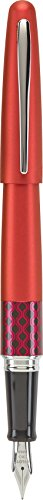 PILOT MR Retro Pop Collection Fountain Pen in Gift Box, Red Barrel with Wave Accent, Medium Point Stainless Steel Nib, Refillable Black Ink (91442)