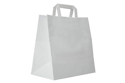 Carte Dozio S.r.l. - Shopper in Kraft con fondo quadro, color Bianco, maniglia piatta, f.to cm 27+17 x 29, cf 50 pz