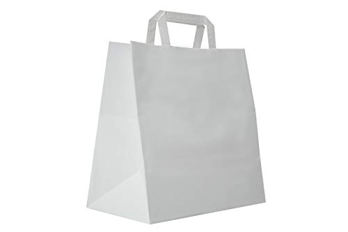 Carte Dozio S.r.l. Shopper in Kraft con fondo quadro, color Bianco, maniglia piatta, f.to cm 32+17 x 29, cf 300 pz
