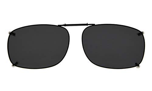Eyekepper Metal Frame Rim Polarized Lens Clip On Sunglasses 54-37MM (Grey Lens)