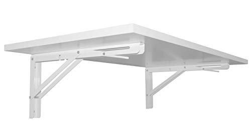 Wandklapptisch Klapptisch Wand Esstisch Schreibtisch Büro Homeoffice Tischplatte Weiß Anthrazit Sonoma Eiche oder Fichte (Tischplatte Weiß)