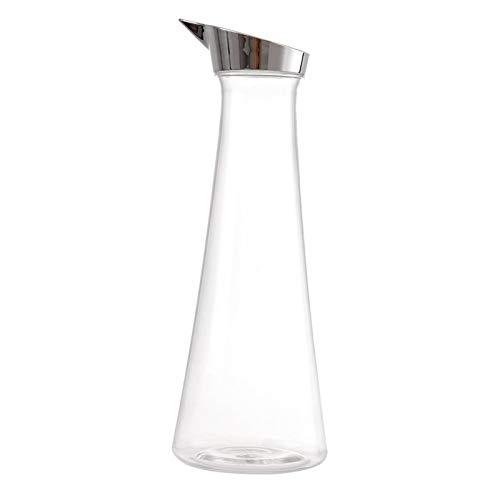 Jarra de Agua de Vidrio,1400ml Botella de Cristal y Cubierta de acero inoxidable para agua, leche, zumo, té helado, limonada y bebidas chispeantes