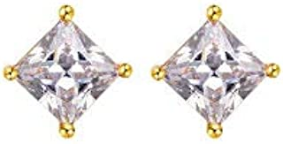 Gold Earrings for Women's 24K Gold Plated Women's and Men's Gold Square Earrings Swarovski Elements Geometric Stud Earring...