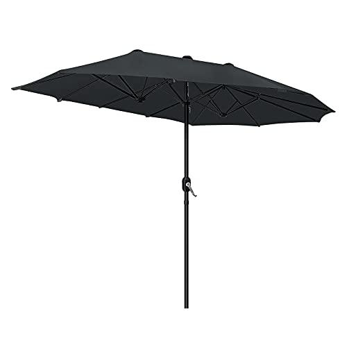 Aufun Sombrilla Doble de Aluminio con protección UV con manivela de Mano, para jardín, Mercado, terraza (270 × 460 cm, Gris Oscuro)