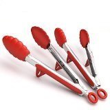 Stainless Steel and Silicone Kitchen Tongs and Cooking Utensils with Built-in Stand, Set of 2 (9 Inch and 12 Inch)
