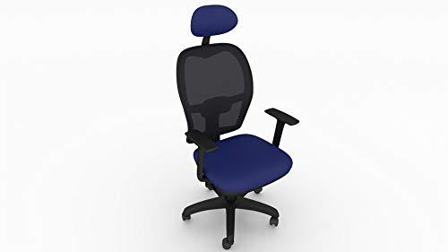 Bureaustoel van polypropyleen Ergo, werkstoel, ergonomische rugleuning met lendensteun van orthopedisch net, comfortabel en betrouwbaar. Blauw