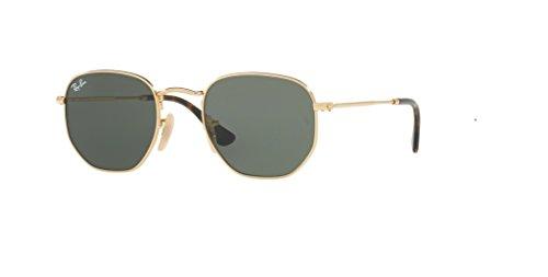 Ray-Ban RB3548N HEXAGONAL 001 51M Gold/Green Sunglasses For Men For Women (MEDIUM)