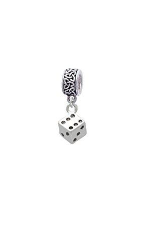 Silvertone Dice - Celtic Knot Charm Bead