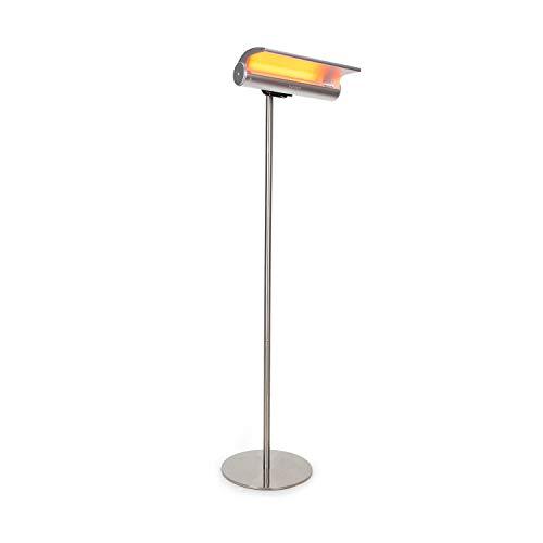 Blumfeldt Heat Guard Reflex - warmtestraler, voor terrassen en buitenshuis, 1800 W, minder zichtbaar licht, beschermingsklasse IP55, timer met uitschakelfunctie, afstandsbediening, roestvrij staal, zilver