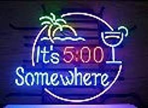 FINEON It's 5:00 Somewhere Real Glass Tube 17(w) insx13(h) ins Neon Sign Light for Beer Bar Pub Garage Room Bedroom Windows Gift Billboard