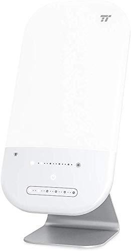 TaoTronics Tageslichtlampe 10.000 Lux 6 Helligkeitsstufen 6 Timer Einstellungen Touch Aktivierung Extra großer 17 x 24,8cm kippbarer Lampenkopf UV-freie LED Tageslichter