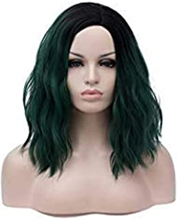 Alacos Fashion 35cm Short Curly Full Head Wig Heat Resistant Daily Dress Carnival Party Masquerade Anime Cosplay Wig +Wig Cap (Black Ombre Dark Green)