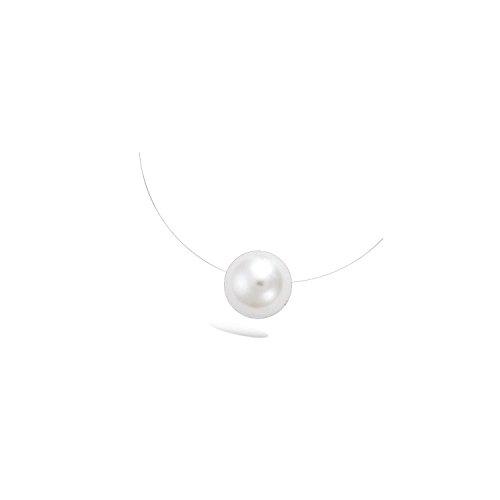 Les Plaisirs de Stella Collier Fil Nylon, Fermoir Argent 925/000 et Pendentif Perle Synthétique Blanche 12mm