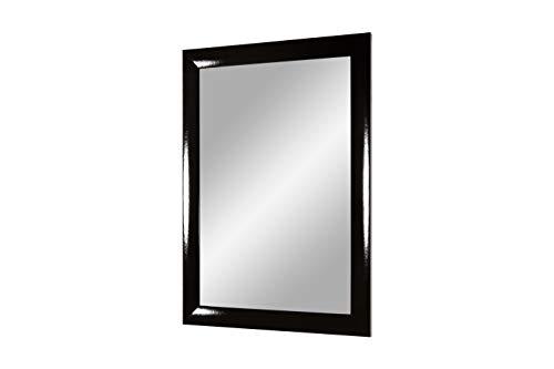 Flex 35 - wandspiegel met frame (zwart hoogglans), spiegel op maat met 35 mm brede MDF-houten lijst - op maat gemaakte spiegellijst incl. spiegel en stabiele achterwand met hangers 75 x 80 cm (Außenmaß) zwart hoogglans