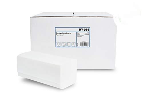 Hypafol Papierhandtücher für Spender | Zellstoff hochweiß, 2-lagig, 24 x 21 cm | gesamt 3.200 Blatt | praktischer ZZ/V-Falz für Handtuchspender in Toiletten, Büros, Praxen und Studios