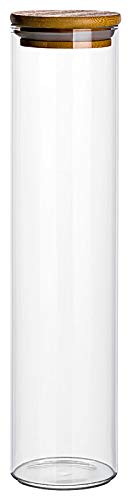 gouveo 3er Set 750 ml Glasbehälter aus Borosilikatglas mit Bambus-Deckel, Vorratsgläser, Gewürzgläser, Glasdosen, Vorratsdose (3, 750 ml schmal)