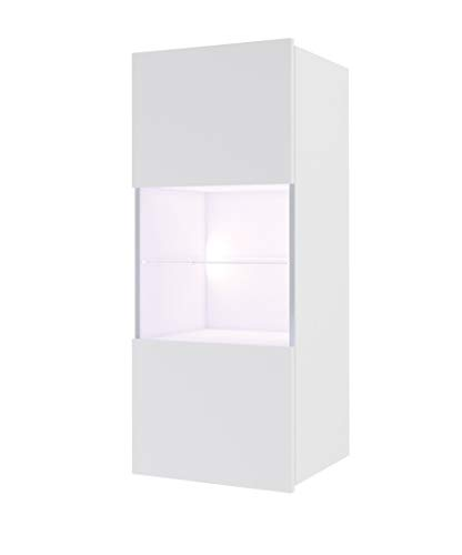 DOMTECH - Armadietto da parete moderno per soggiorno, vetrina pensile verticale,colore: bianco lucido