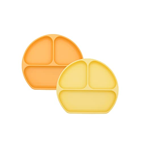 Bumkins Silicone Grip Dish, Suction Plate, Divided Plate, Baby Toddler Plate, BPA Free, Microwave Dishwasher Safe – 2pk Tangerine/Pineapple