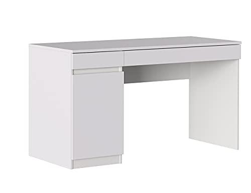 Iconico Home MIK Scrivania con 1 Anta e 2 cassetti, Legno Composito, Bianco Opaco, 140x55,5x76 cm