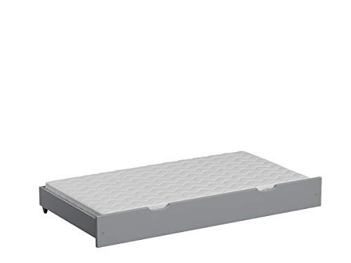 Children's Beds Home Cama Individual Nido extraíble - Leo con colchón de Espuma de Fibra de Coco (130x70 para Cama 140x70, Gris)