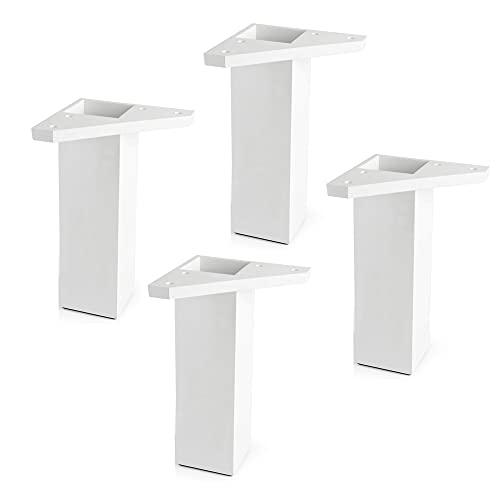 Rei | 4 Patas Muebles Bajos Fabricadas en ABS en Color Blanco | Proyectos de Restauración, DIY y Bricolaje | Pata con Placa de Montaje y Perforaciones para una Fácil Instalación | Altura: 15 cm
