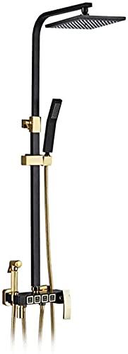 DZCGTP Sistema de Ducha Cuadrado de 9 Pulgadas, Salida de Agua de 4 Funciones, Mezclador de Lluvia, Conjunto Combinado de Ducha con Ducha Superior, Ducha de Mano
