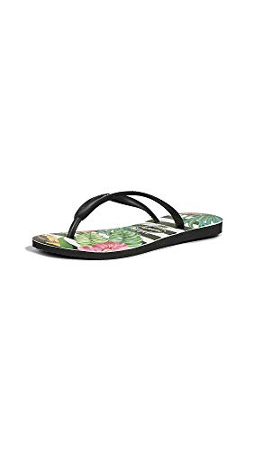 Havaianas Women's Slim Tropical Sandal, Black/Black/Imperial Palace, 7/8 M US