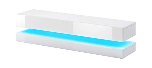 Vivaldi Fly Mesa Flotante para TV | 45 x 140 x 34 cm | Mueble Colgante de Pared | 2 Cajones | una Estantería | con Iluminación LED Salón, Comedor | Blanco Mate y Blanco Brillo