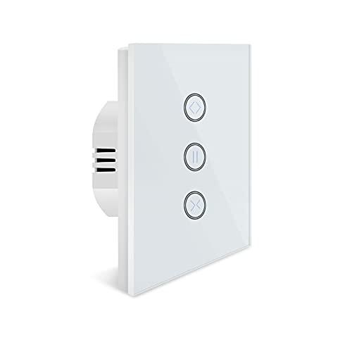 Interruptor de cortina inteligente, interruptor de persiana, interruptor inteligente con panel táctil, compatible con Alexa Echo y Google Assistant, mando a distancia y calendario (1 paquete)