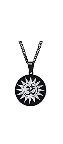 VAWAA AUM Om Ohm, símbolo sánscrito, Colgante de Disco de Yoga, Collar de Amuleto de Acero Inoxidable, joyería para Hombres