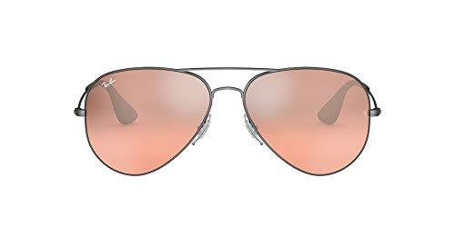 Ray-Ban 0rb3558-91396u-58 Gafas, Verlaufsspiegel/Mattschwarz/Antik/Violet TR/Braun, 58 MM Unisex Adulto