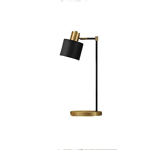 Lámpara De Mesa De Mesa De Noche, Lámpara De Dormitorio Minimalista Moderna, Carga Inalámbrica USB, Lámpara De Lectura De Sala De Estar (Negro)(Size:A-20 * 52cm)