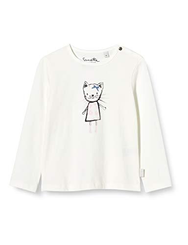 Sanetta Baby-Mädchen Ivory Langarm-Shirt Off-White mit niedlichem Emma The cat Print auf der Brust Kidswear, beige, 068