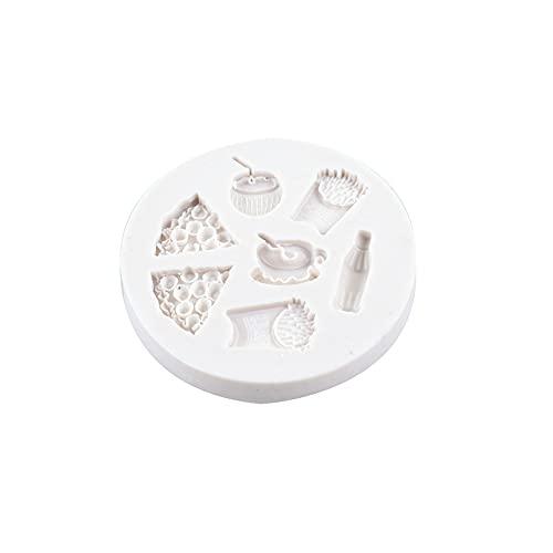LEAMER 3D molde de silicona para fondant para pizza, té, bebidas y patatas fritas, molde para decoración de tartas, dulces, chocolate, galletas, jalea, herramientas para hornear para fiestas