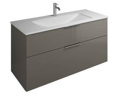 Burgbad Eqio Mineralguss-Waschtisch inklusive Waschtischunterschrank, Breite 1220 mm, SEYU122, Farbe (Front/Korpus): Grau Hochglanz/Grau Glänzend, Griff G0146 - SEYU122F2010G0146