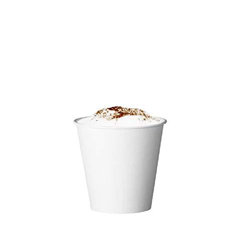 Skiokko - 120 Ml 4 Oz Set da 100 Tazzine Caffe di Cartoncino Bio Bianco, Eco-Compatibile per Macchina caffè Espresso, o Americano Tazza Termica di Carta Monouso, per Bibite Calde E Fredde