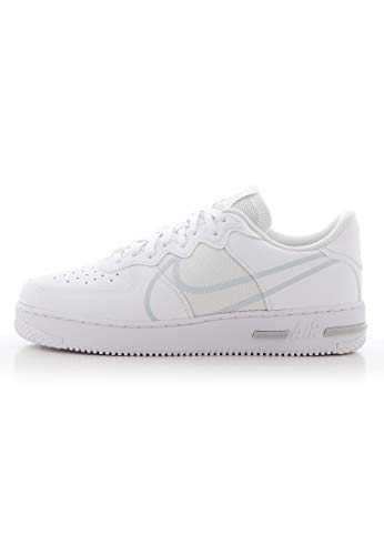 Nike Herren AIR Force 1 React Basketballschuh, White/Pure Platinum, 44 EU