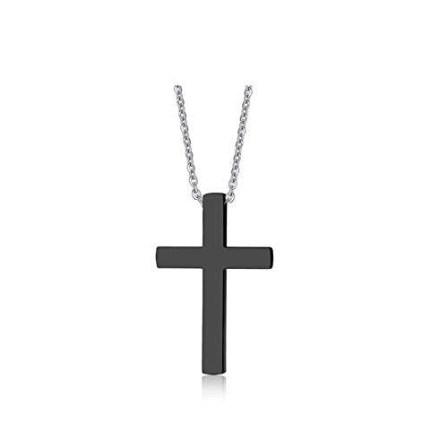 YAMAO Hombre Collar,Colgante de Cruz Grande para Hombres Accesorio de joyería de Collar de Acero Inoxidable