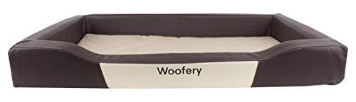 Woofery - Hundebett Hundematte Minnie - Kunstleder Reißverschluss Braun/Beige 120 x 80 cm