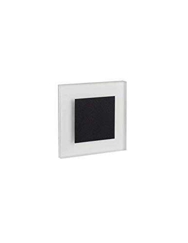 LED Wandeinbauleuchte 230V für 60mm Schalter-Dose Stahl Einbauspot Dekoleuchte Treppenlicht Einbau Leuchte Stufenlicht Strahler (Apus AC warmweiß, 26538) schwarz matt