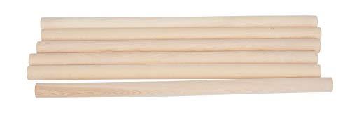 VBS Holz-Rundstäbe 30cm lang Natur unbehandelt Ø 15 mm, 6 Stück