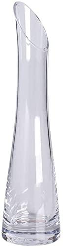XIAOZHEN Jarrón Hermosas artesanías Vidrio Jarrón Salón Salón Comedor Jarrón Obliculio Botella Cuello Fino Cintura Jarrón Crystal Clear Jarrón (Color : Gray)