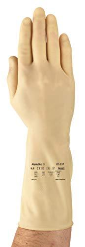 Comasec & souci industriel a137065–01 Gants en caoutchouc, latex, poids plume Plus, g31h, liquide chimique et protection, Taille 6,5, naturel (Lot de 12)