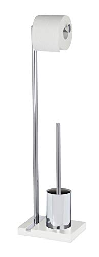 WENKO Stand WC-Garnitur Noble White - WC-Bürstenhalter, Stahl, 20 x 74 x 15 cm, Chrom