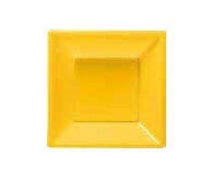 GIRM - B127901 conf. 6 Pezzi, Piattini da Frutta Gialli, Piatti Piani Quadrati 18 cm di plastica Rigida Riutilizzabile