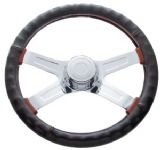 18' Steering Wheel Cover Black Leather Cover For Semi Trucks