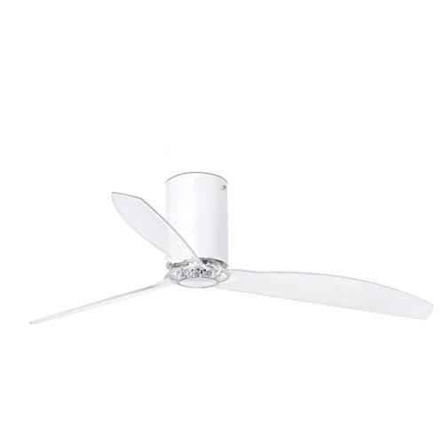 Faro Barcelona 32039WP- MINI TUBE FAN Ventilador de techo blanco mate/transparente con motor DC SMART (Receptor Smart 34150 no incluido)